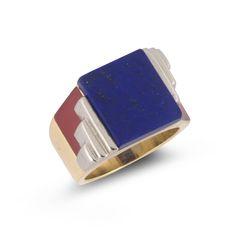 Georges Fouquet. An Art Deco lapis lazuli, enamel, gold ring, 1920s