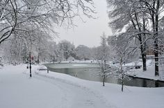 Snowy Mirror Lake at Ohio State University - Dec 26, 2102