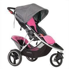 phil&teds dash luxury lightweight stroller with front and rear purple liners 3/4 view
