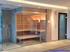 How to: Especially when the space provided for the installation of a sauna .How to do it: Especially when the space intended for the installation of a sauna is - as in this case - Sauna Hammam, Spa Sauna, Sauna Shower, Home Spa Room, Spa Rooms, Sauna Steam Room, Sauna Room, Steam Bath, Design Sauna