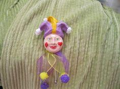 Hat Pin  Mardi Gras Jester  Hair pin  Brooch  by candlesbykimberly, $10.99