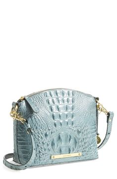 Extravagant croc-embossing brings textural intrigue to a burnished leather handbag in a clean crossbody style. Brahmin Handbags, Brahmin Bags, Purses And Handbags, Leather Handbags, Fashion Bags, Fashion Handbags, Fall Fashion, Design Bleu, Mini Crossbody Bag