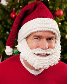 Use your crochet skills for a bit of holiday fun. Wearing this Santa hat and beard will make anyone feel like a jolly ol' elf!