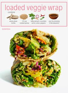 Recipes For School Are you looking to save time and money when it comes to the kitchen? Well look no further than this loaded veggie wrap for your plant powered lunch! This recipe is budget friendly and quick to make! Vegan Recipes Plant Based, Vegan Recipes Easy, Lunch Recipes, Whole Food Recipes, Cheap Vegetarian Recipes, Cheap Vegan Meals, Oats Recipes, Salmon Recipes, Free Recipes