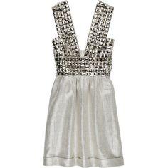 Burberry Prorsum Gem embellished metallic dress ($5,000) ❤ liked on Polyvore featuring dresses, vestidos, vestiti, short dresses, metallic dress, short white dresses, embellished mini dress and silver metallic dress