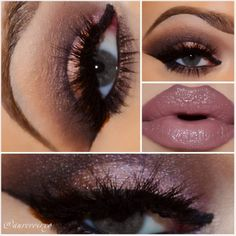 Instagram @aurevoirxo: Under Your Spell Makeup Look | I used @alexapersicocosmetics Crisp Plum on the lid/lower lashline, @motivescosmetics eyeshadow Cappuccino, Vino, Onyx in the crease. Dollface, Plum Frost on the lid, Mac Satin Taupe in the crease/lower lashline, Mac Phloof! in tear duct/under brow arch. Lip Liner: Mac Plum Lipstick: Mac Hot Chocolate Lipgloss: NYX Sweet Heart