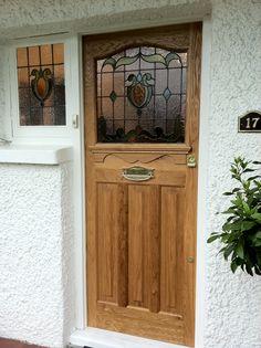 classic front door made in Oak Cottage Front Doors, Oak Front Door, Wooden Front Doors, Front Door Entrance, Painted Front Doors, House Front Door, Front Door Design, Glass Front Door, Sliding Glass Door
