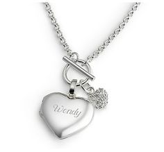 Heart Toggle Locket: This beautiful toggle necklace features a classic heart locket along with a sparkling CZ heart. Heart Locket, Locket Necklace, Fashion Necklace, Fashion Jewelry, Unique Jewelry, Women Jewelry, Jewelry Box, Jewellery, Lord