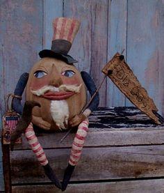 Primitive HUMPTY DUMPTY UNCLE SAM Americana Doll Pattern  #hillkountrykrafts