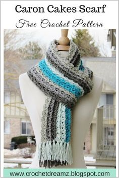Ocean Waves Scarf - A free Crochet Pattern Featuring Caron Cakes Cake Pop Yarn by Crochet Dreamz - get this and more free patterns that feature this yarn at our site