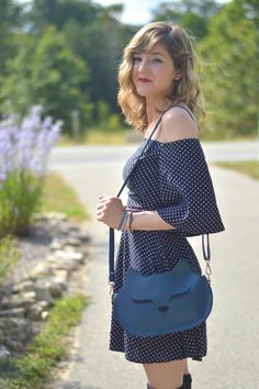 Polka Dot Dress from alittlelau.com #offtheshoulder #70s #catbag #catpurse #modcloth #vintage #fallfashion