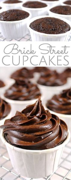 ***Brick Street Chocolate Cupcakes with Chocolate Ganache Frosting ~ everything you love about the decadent Famous Brick Street Chocolate Cake, but in cupcake form. Individual rich, dense chocolate cupcakes with thick, chocolate ganache frosting. Chocolate Cupcakes, Chocolate Ganache, Chocolate Desserts, Dense Chocolate Cupcake Recipe, Baking Chocolate, Chocolate Buttercream, Chocolate Muffins, Chocolate Pudding, Chocolate Chips