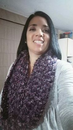 Cuello tejido a crochet Lana gruesa matizada