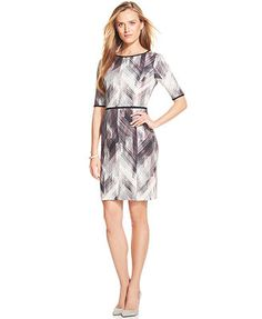 Vince Camuto Elbow-Sleeve Geo-Print Sheath