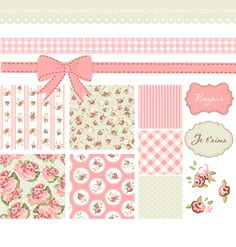 Shabby Chic Digital Scrapbook Papers. Vintage by GraphicMarket