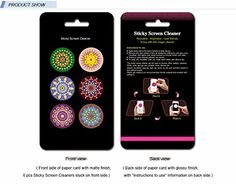 Sticky Cleaner Round Pattern Pretty Abstract Design 6-in-1 Microfiber Screen Cleaner Sticker for iPhones, smartphones, tablets and touchscreen other electronic digital devices Eunichara