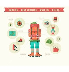 Hiking and camping equipment - icon set and vector - by ma_rish on VectorStock® Tent Camping, Camping Hacks, Camping Gear, Camping Equipment, Infographic Templates, Art Pages, Rock Climbing, Icon Set, Trip Planning