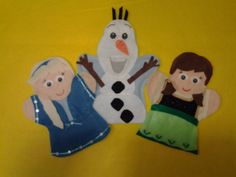 Frozen Anna and Elsa as kids and Olaf Hand Puppets by lisapuppetmaker.com #frozen #olaf #anna #elsa #puppets #puppet #feltpuppet #handpuppet