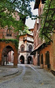 Borgo Medievale ~ 19th century reproduction of a riverside medieval village with houses, workshops, castles and gardens in Torino,Italy