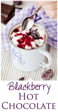 Blackberry Hot Chocolate is dark, mysterious, intense fun. Made with real blackberries, dark chocolate milk. It's perfect for snuggling up with in winter. Blackberry Hot Chocolate is d Non Alcoholic Drinks, Cocktail Drinks, Fun Drinks, Yummy Drinks, Healthy Drinks, Cocktails, Beverages, Cocktail Recipes, Healthy Snacks