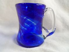 Blue Glass Coffee Cup-Blown Glass Blue Swirled Coffee Mug-Hand Made Coffee Cup by BCScollectibles on Etsy