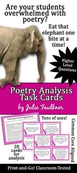 POETRY ANALYSIS TASK CARDS {USE WITH ANY POEM} MODERN & ENGAGING - TeachersPayTeachers.com