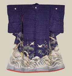 Late Edo era (1840-1868) | A fine, sheer antique late Edo uchikake with embroidered and painted cranes, pine, bamboo, plum blossom and 'minogame' turtle. The trio of plum blossom, bamboo and pine are considered in Japan as the 'three friends of winter' who are faithful to each other during difficult times; they traditionally represent the season winter when used on art such as this wedding garment. Pine, turtle and crane: these together symbolize longevity and good luck.