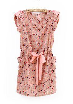 Vintage Birds Printed Pockets Sashes Dress