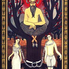 The Devil tarot card by [Artist Unknown] Tarot Card Tattoo, Ancient Symbols, Archetypes, How To Run Longer, Tarot Cards, Devil, Alchemy, Consciousness, Astrology