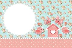 Invitation card Floral Frame and Vintage Pink and Blue: Decoupage Vintage, Scrapbooking Stickers, Bird Party, Frame Clipart, Party Printables, Vintage Floral, Birthday Invitations, Stationery, Paper Crafts