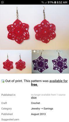 Crochet Earrings, Pattern, Crafts, Free, Jewelry, Manualidades, Jewlery, Jewerly, Patterns