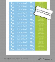 INSTANT DOWNLOAD Let it snow christmas wrap around return address labels by JJsquaredCreations, $3.65