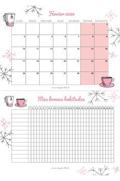 Calendrier février 2020 - Magali TUFFIER - Communication digitale sereine  calendrier et tracker février pour s'organiser tout en douceur  #organisation #février2020 #février #freebies #tracker #bulletjournal #rose #tasse #dessin