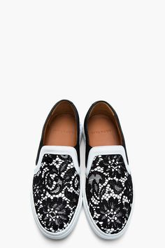 GIVENCHY Black and white Lace Skate Shoes