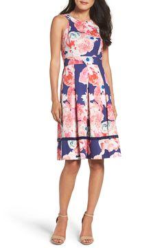 New Eliza J Fit Flare Dress, Blue Multi fashion dress online. [$128]>>newtstyle Shop fashion 2017 <<