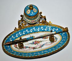 Exquisite Antique French Sevres Enamel Inkwell Stand Roses Garland Jeweled | eBay