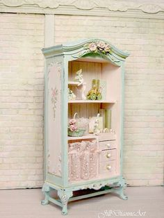 For Patricia - Shabby French Cottage Chic Fairy Rose Cabinet - Antique Pink Lace - sculpted roses - Hand-painted - basket, books, fairy