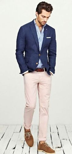 Shop this look — Navy Blazer — White and Blue Vertical Striped Longsleeve Shirt — Brown Suede Derby Shoes — Brown Leather Belt — A Hint of Pink Chinos — White Pocket Square. Mode Masculine, Fashion Moda, Look Fashion, Fashion Suits, Men's Spring Fashion, Fashion Photo, Mens Fashion Blazer, Fashion Check, Mens Fashion Shoes