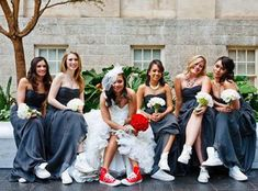 white chuck taylors I'd rock purple or grey instead Chuck Taylors Wedding, White Chuck Taylors, Wedding Pics, Wedding Bells, Dream Wedding, Wedding Day, Brides And Bridesmaids, Bridesmaid Dresses, Wedding Dresses