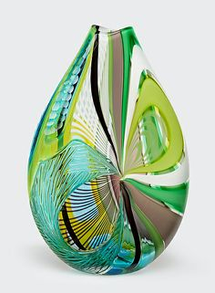 Strigi in Green Art Glass Vase created by Jeffrey Pan on Artful Home
