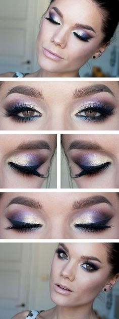 "Today's Look : ""Insomnia"" -Linda Hallberg   (another shimmer and shine look using Too Faced Enchanted Glamourland, this one   has a lovely combo of ivory-peach, purples, pinks and blue in lower lash line   ... again paired with a nude lip)10/12/13"