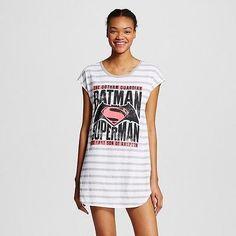 DC Comics Women's Batman and Superman Sleep Tee, White/Grey Stripe, XSmall