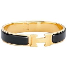 Pre-owned Hermes Clic H Narrow Bracelet In Enamel Gold Plated Hardware... ($799) ❤ liked on Polyvore featuring jewelry, bracelets, accessories, black, pre owned jewelry, black jewelry, enamel bangle, preowned jewelry and hermès