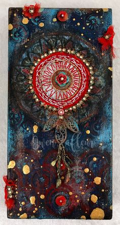 """""""Stolen"""" mixed media artwork by Gwen Lafleur. x x on wood cradled panel. Acrylic paint, embossing powder, stenciling, collage, found object and vintage textile embellishment. Mixed Media Artwork, Mixed Media Artists, Wood Cradle, Street Art Graffiti, Border Design, Vintage Textiles, Creative Inspiration, Stencils, Mandala"""