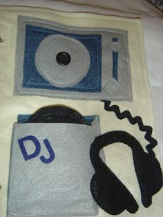 DJ quiet book page with records to button onto the turntable