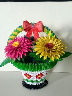 Panier de fleurs origamie 3d Fabiola MD