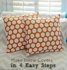 make pillow covers in 4 easy steps Sewing Pillows, Diy Pillows, How To Make Pillows, Fall Pillows, Recover Pillows, Throw Pillows, Cushions, Floor Pillows, Diy Pillow Covers