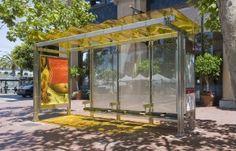 Marquesinas solares en San Francisco .  Estructura hecha de 70% de acero reciclado. techo con un 40% de materiales reciclados #RSC #innovación