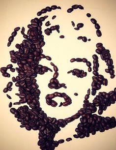 Marilyn Monroe wall art made from coffee beans Coffee Brewer, Coffee Cafe, Coffee Drinks, Coffee Artwork, Coffee Painting, Coffee Bean Art, Coffee Beans, Cofee Shop, Café Chocolate