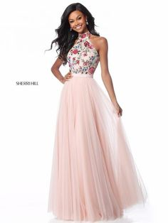 Sherri Hill 51908 Floral Halter A-Line Tulle Gown Pretty Prom Dresses, Sherri Hill Prom Dresses, Grad Dresses, Pageant Dresses, Homecoming Dresses, Cute Dresses, Beautiful Dresses, Dresses Dresses, Long Dresses
